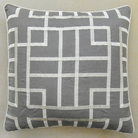 GlucksteinHome Tate Cushion, Embroidery Geometric Linen Grey