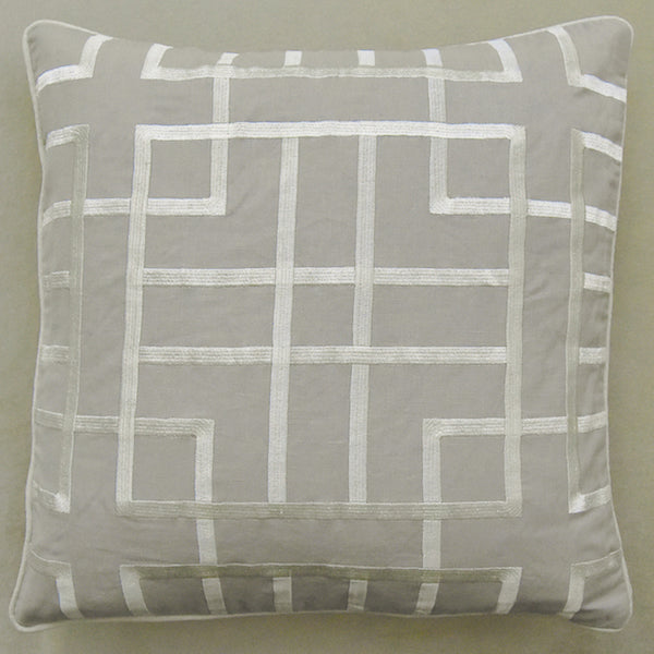 GlucksteinHome Tate Cushion, Embroidery Geometric Linen Light Grey