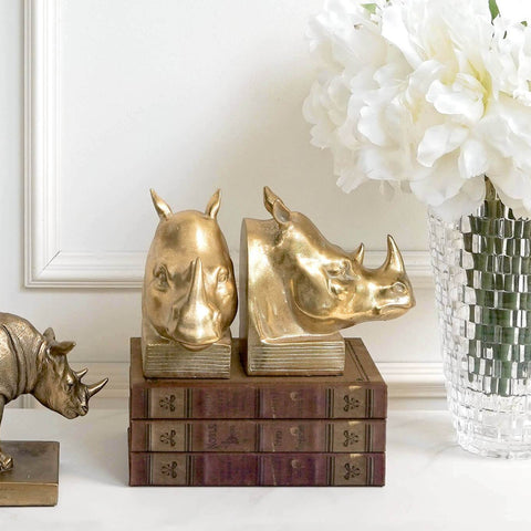 Gold Rhinoceros Bookends with books and flowers Entrance Decor Ideas
