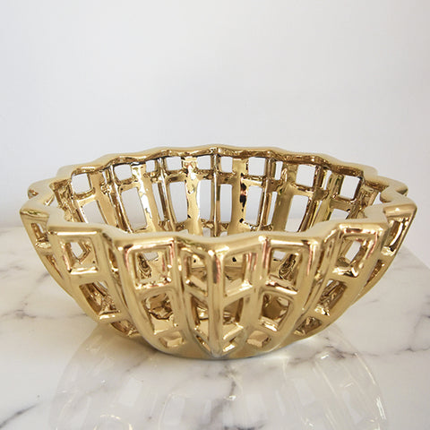 Gold Decorative Bowl - Style this gold accent sculptural bowl to your bar counter, entryway console, table art, or bookshelf decor for a touch modern vintage luxe.
