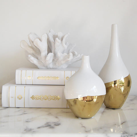 Vases, jars and flowers for home decor ideas - Gold dip Vases in Luxe Gold Home Design.
