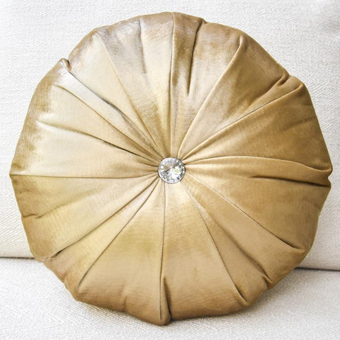 Gold Satin Round Cushion