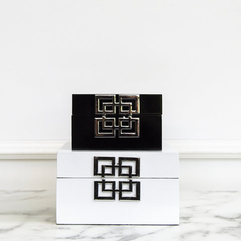 Greek Key Black & White Lacquered Box, 2 Colors