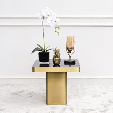Guy Black Marble Coffee Table Square Gold Base