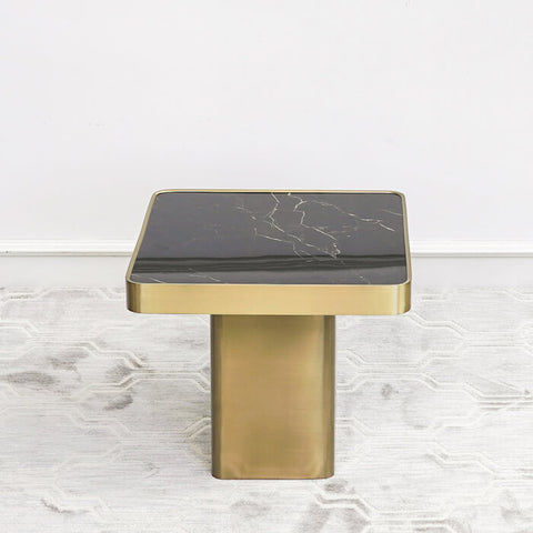 Guy Marquina Marble Coffee Table with Gold Stainless Steel Base