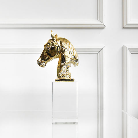 Faer Gold Horse Sculpture Decor, Crystal