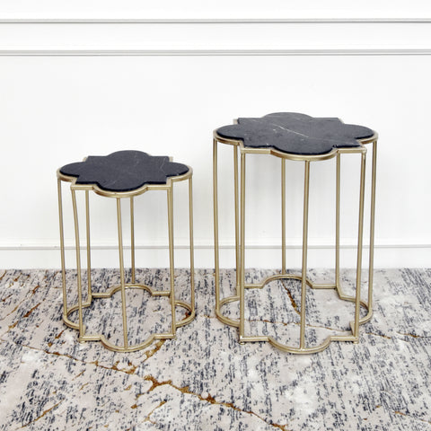 Huette Nesting End Table, Black and Gold