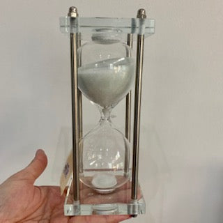 Acrylic White Hourglass, Gold Accent Stand