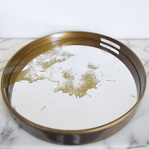 Tray - Itzel Mirror Gold Dust Tray, Round