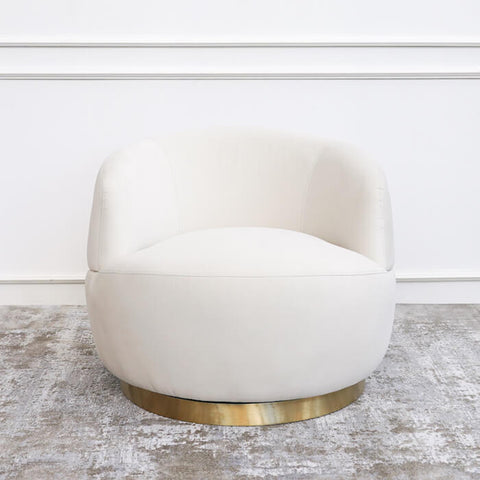 Infiniti 360 Swivel Armchair, Gold Base, Cream Velvet