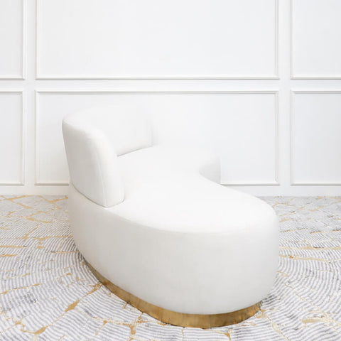 Infiniti Curved Art Deco Sofa, Velvet Cream