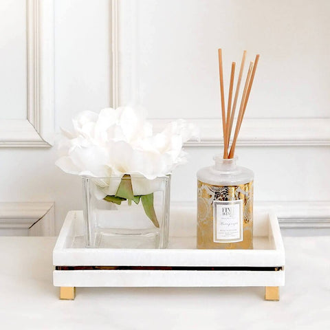 Isabella White Marble Pedestal Tray displayed with Reed diffuser for Vanity Decor and Entrance Console