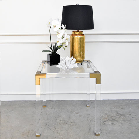 Julien Acrylic Gold Cocktail Side Table