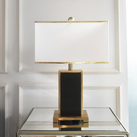 Black and Gold Table Lamp with White Shade