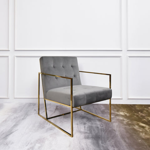 Kaarle Gold Lounge Armchair, Grey Velvet
