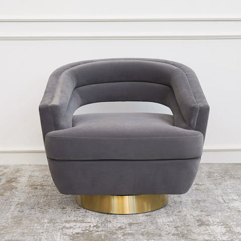 Kelly Swivel Gold Armchair, Grey Lined Velvet Upholstery