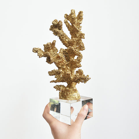 La Mer III Gold Coral Sculpture Decor, Crystal