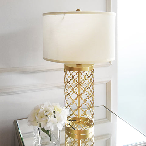 Quatrefoil Gold Metal Table Lamp on sale at Finn Avenue Singapore
