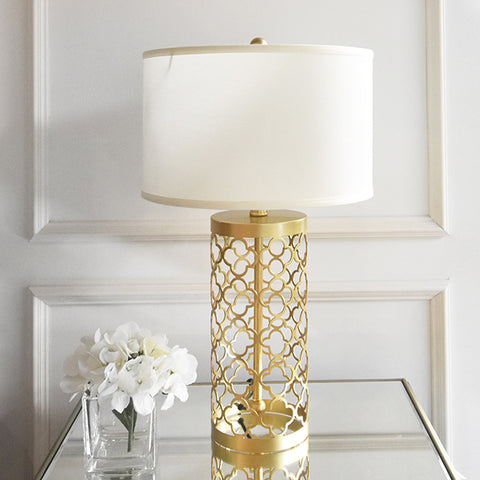 Quatrefoil Gold Metal Table Lamp