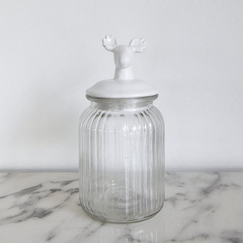 Glass Jar - Lea Glass Cylindrical Jar with Deer Finial