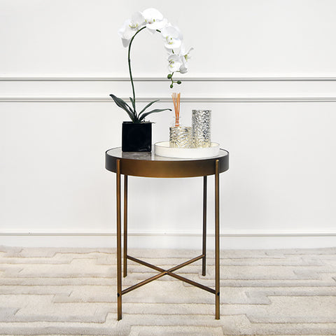 Sol III Marble Gold End Table, Tall