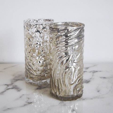 Luciana Mercury Glass Candle & Votive Holder, Waves