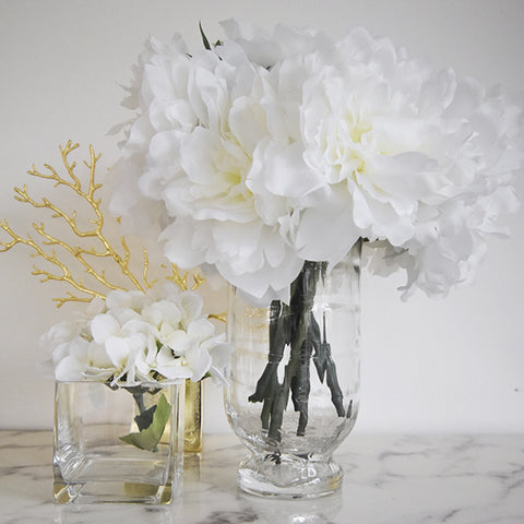 Vases & Flowers Decor Ideas - Glacier Textured Glass Vase, Two Sizes, in white Peonies