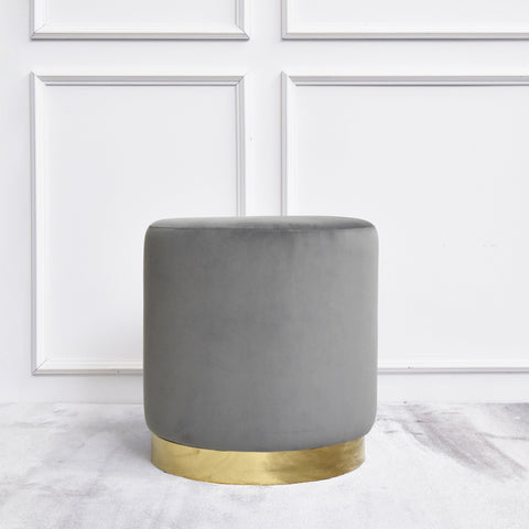Lancelot Grey Gold Stool, Round