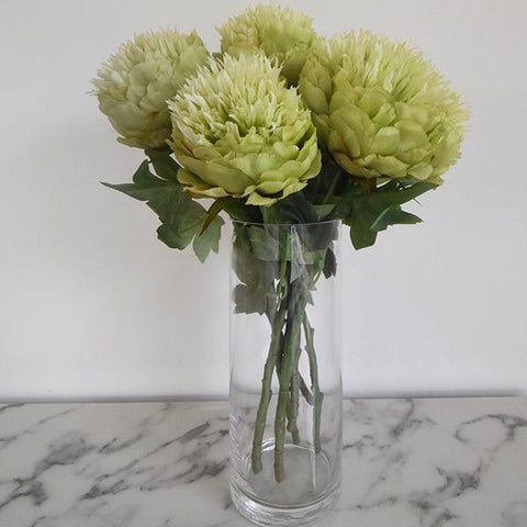 Decorative flower - Peony Lime Flowers in a Glass Vase