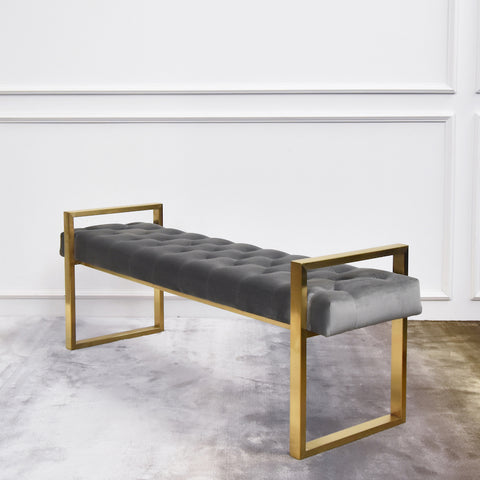 Lisse Gold Bench, Tufted Grey Velvet