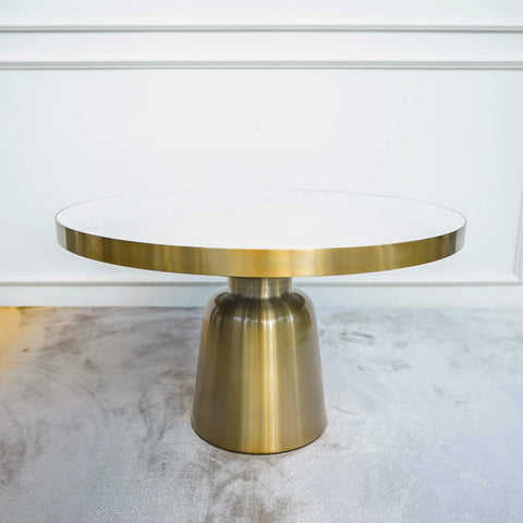 Louis Art Deco Coffee Table - White Marble Round Coffee Table with Gold Base on Pedestal
