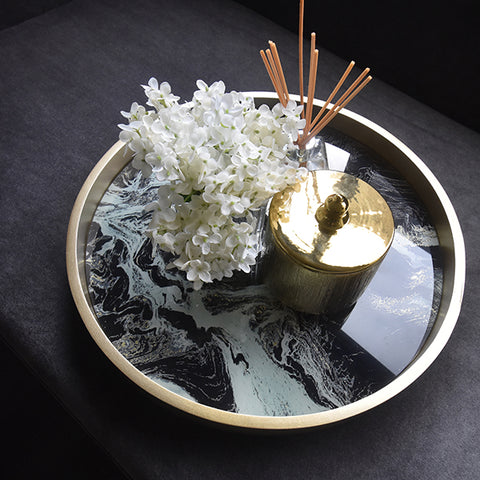 Louvel Black Marble Gold Tray