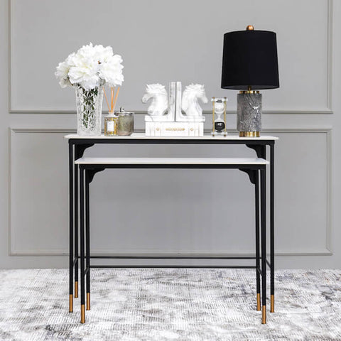 Luca Slim Marble Console Tables Decor in White Black Home Design Ideas