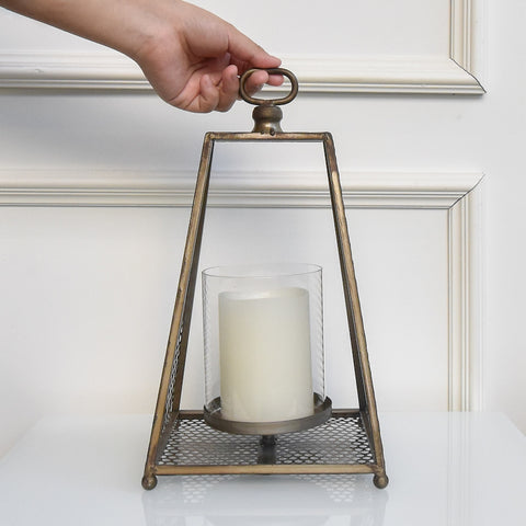 Lumiere Gold Iron Lantern Candle Holder