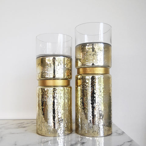Gold Candle Holder in Two Sizes.
