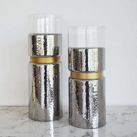 Vase candle holders in silver & gold textured effects