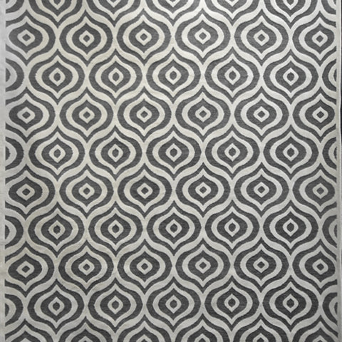 Modern Tessellation Ivory Grey Rug, in 2 Sizes, made in Turkey available in Singpore showroom.