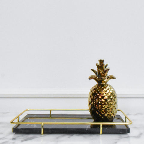 Maestro Black Marble Gold Tray