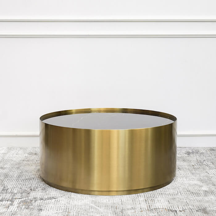 Marc Black Marble Gold Coffee Table Round Drum Base Finn Avenue