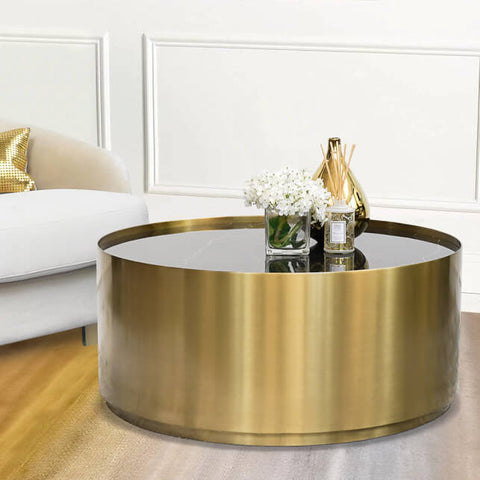 Marc Round Gold Black Marble Coffe Table in Luxury Living Room Home Design