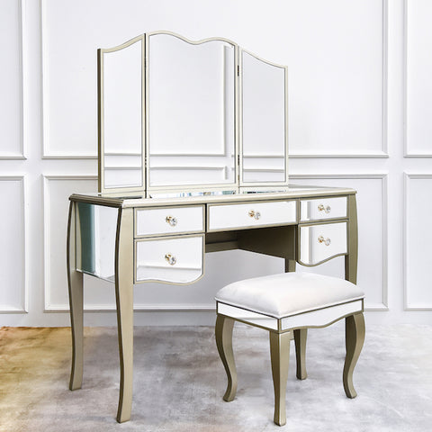 Marcella Mirrored Vanity Set, Dresser Table, Stool & Mirror, 5-drawer