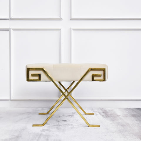 Marq Cream Greek Key Gold Stool