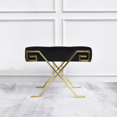 Marq Black Greek Key Gold Stool