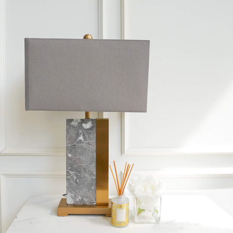 Massif Grey Marble Lamp on Gold Base on White Marble Console Table