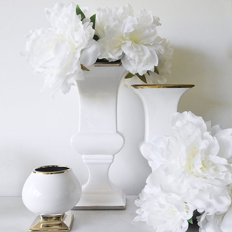 Mauro Urn-Shaped White Vase, Gold Trim