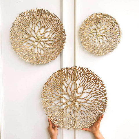Merveilles Gold Round Wall Art Sculpture, 3 Sizes perfect for Modern Living Room Feature Wall Home Design