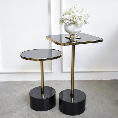 Black Glass Occasional Table Set
