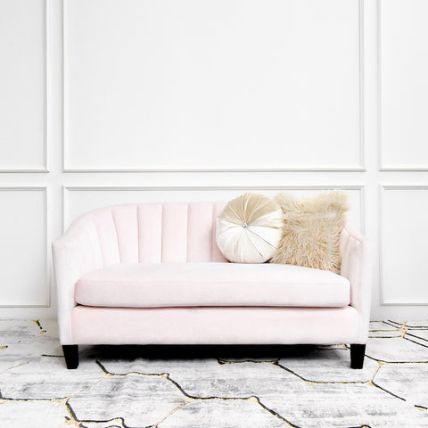 Mila Clamshell Sofa, 2-seater, Dusty Pink Velvet