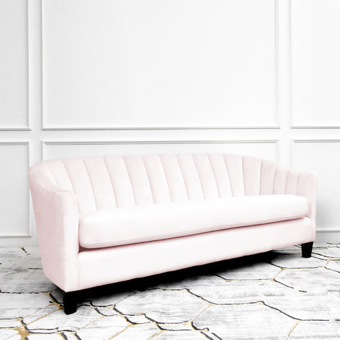 Mila Clamshell Sofa, 3-seater, Dusty Pink Velvet