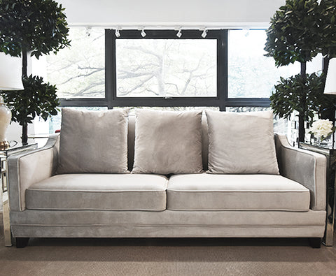 Sofa - Shop online 3-seater plus silver velvet sofa